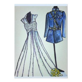 Marine officer uniform and Vintage wedding dress Card
