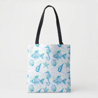 Marine Sketch Pattern Tote Bag