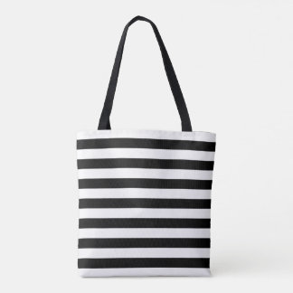 Marine stripes pattern, thick black & white lines tote bag