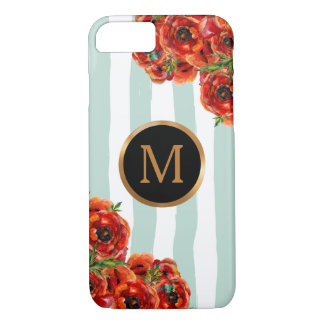 Marine Stripes Red Poppies Floral Gold Monogram iPhone 8/7 Case