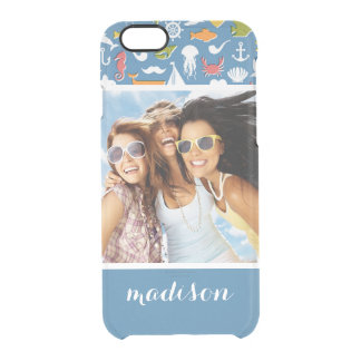 Marine Symbols Pattern | Your Photo & Name Clear iPhone 6/6S Case