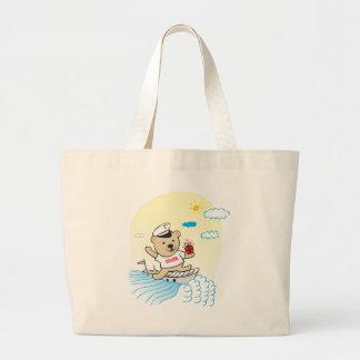 Marine Teddy Tote Bags