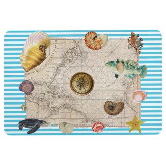 Marine Treasure Blue Stripes Floor Mat