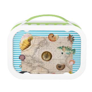 Marine Treasure Blue Stripes Lunch Box