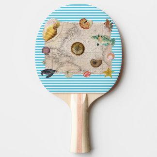 Marine Treasure Blue Stripes Ping Pong Paddle