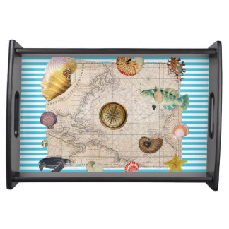 Marine Treasure Blue Stripes Serving Tray