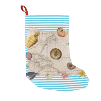 Marine Treasure Blue Stripes Small Christmas Stocking