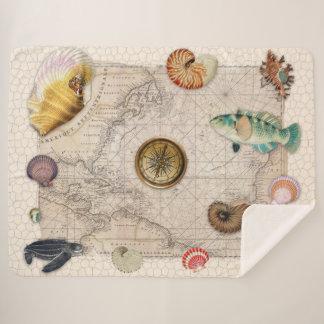Marine Treasures Beige Vintage Map Tan Sherpa Blanket
