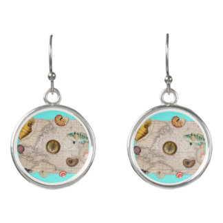 Marine Treasures Beige Vintage Map Teal Earrings