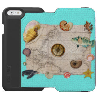 Marine Treasures Beige Vintage Map Teal Incipio Watson™ iPhone 6 Wallet Case