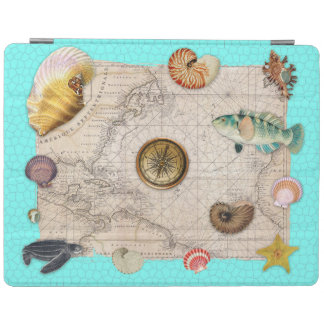 Marine Treasures Beige Vintage Map Teal iPad Smart Cover