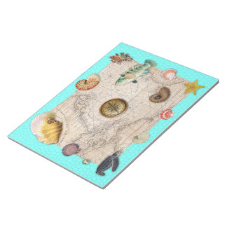 Marine Treasures Beige Vintage Map Teal Notepad