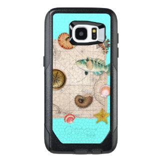 Marine Treasures Beige Vintage Map Teal OtterBox Samsung Galaxy S7 Edge Case