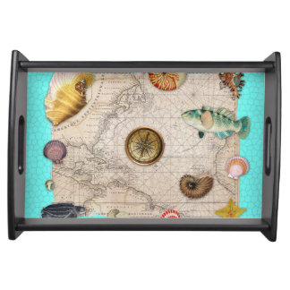 Marine Treasures Beige Vintage Map Teal Serving Tray