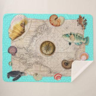 Marine Treasures Beige Vintage Map Teal Sherpa Blanket