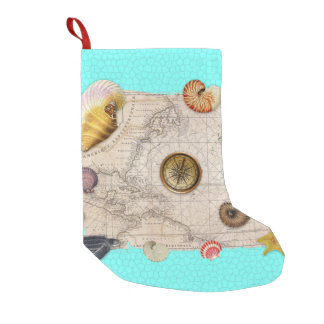 Marine Treasures Beige Vintage Map Teal Small Christmas Stocking
