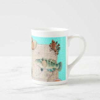Marine Treasures Beige Vintage Map Teal Tea Cup