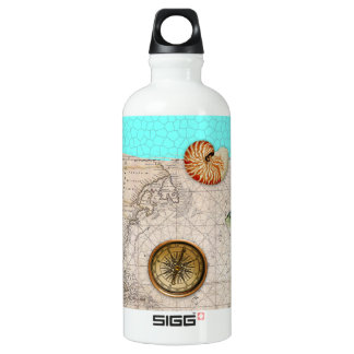 Marine Treasures Beige Vintage Map Teal Water Bottle