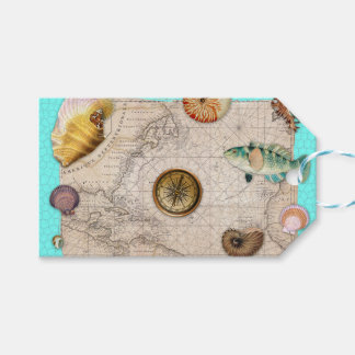 Marine Treasures Vintage Map Teal Gift Tags