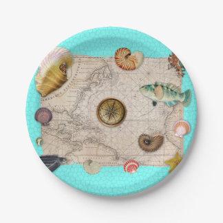 Marine Treasures Vintage Map Teal Paper Plate