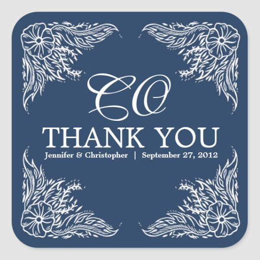 Marine & White Wedding Thank You Monogram Square Sticker
