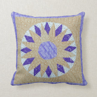 Mariners Compass Vintage Quilt-Look Pillow