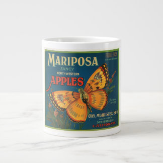 Mariposa Brand Apples Vintage Crate Label - Butter Large Coffee Mug