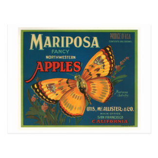 Mariposa Brand Apples Vintage Crate Label - Butter Postcard