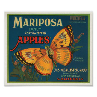 Mariposa Brand Apples Vintage Crate Label - Butter Poster