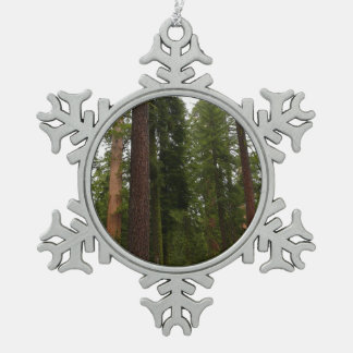 Mariposa Grove in Yosemite National Park Pewter Snowflake Decoration