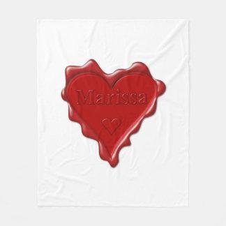 Marissa. Red heart wax seal with name Marissa Fleece Blanket