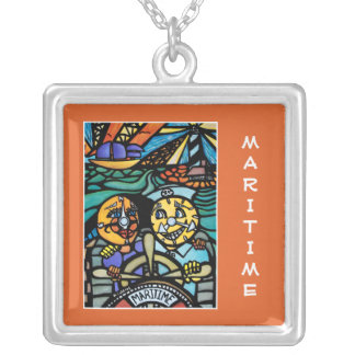 Maritime On Orange - Time Pieces Bright Colors Silver Plated Necklace