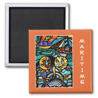 Maritime  On Orange - Time Pieces Magnet