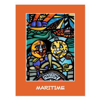 Maritime  On Orange - Time Pieces Postcard