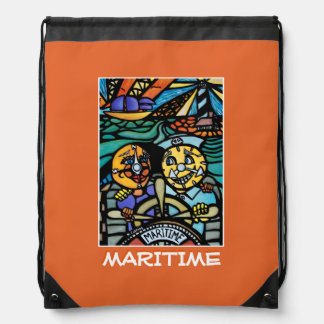 Maritime - Orange -Time  Pieces Drawstring Bag