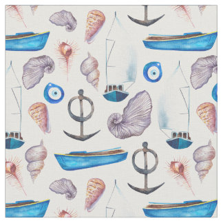 Maritime pattern: mussles, boats, anchor. fabric