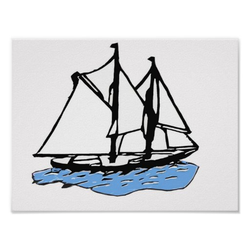 Maritime Sailing Ship, Yacht, Boat on Blue Sea Poster
