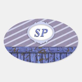 Maritime Wall - Blue Oval Sticker