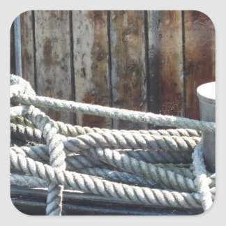Maritimes rope of a ship square sticker
