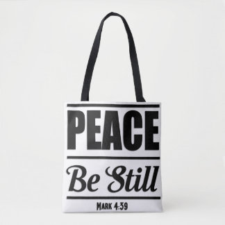 Mark 4:39 Bible Verse Tote Bag
