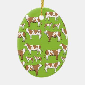 Mark cattle selection ceramic ornament