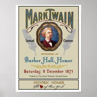 Mark Twain at Barber Hall Historic Homer NY Poster