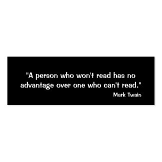 Mark Twain Bookmark Double-Sided Mini Business Cards (Pack Of 20)