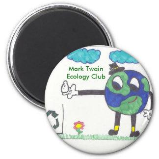 Mark Twain Ecology Club 6 Cm Round Magnet