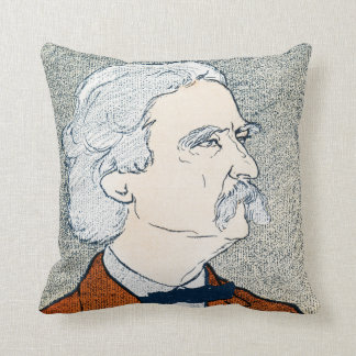 Mark Twain & Quote - Explore. Dream. Discover. Throw Pillow