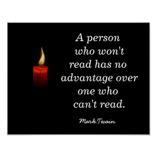 Mark Twain Reading quote - Print
