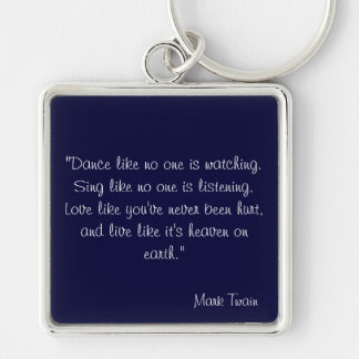Mark Twain Silver-Colored Square Key Ring