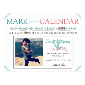 Mark Your Calendar Save the Date Postcard