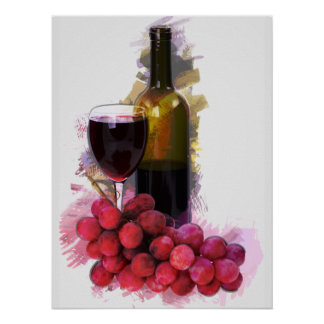 Marker Sketch, Wine Glass, Bottle, Grapes Poster