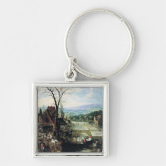 Market and Bleaching Ground, 1620-22 Silver-Colored Square Key Ring